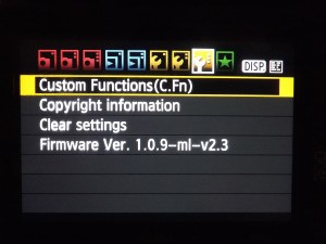 Settings screen on a Canon DSLR camera